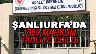 Photo of Şanlıurfa'da 1369 Mahkum Tahliye Edildi