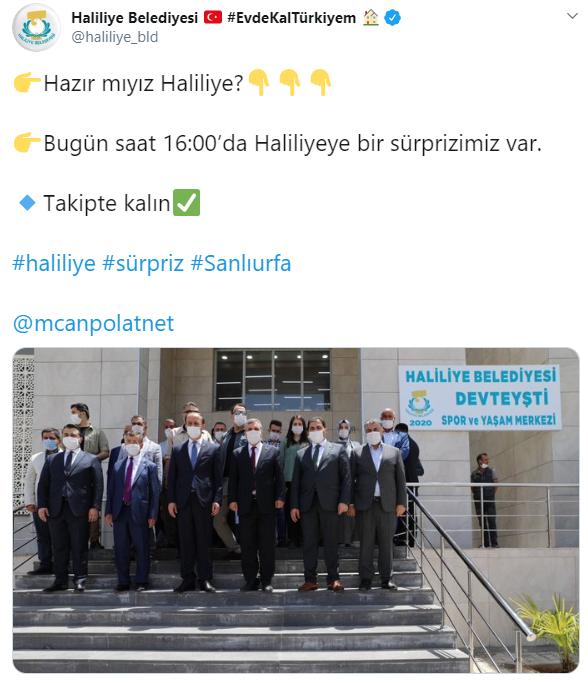 Haliliye Belediyesi, vatandaşlara bir sürpriz yapacağını duyurdu. Sürprizin olacağını duyan vatandaşlar meraklı gözlerle saatin 16.00 olmasını bekliyor.