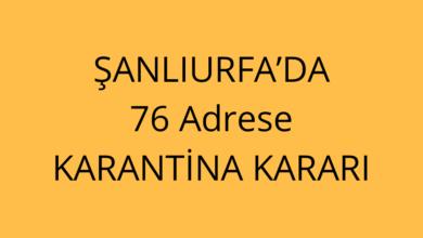 Photo of Şanlıurfa'da 76 Adrese Karantina Kararı
