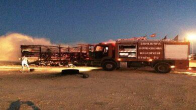 Photo of Şanlıurfa'da kargo yüklü tır alev alev yandı