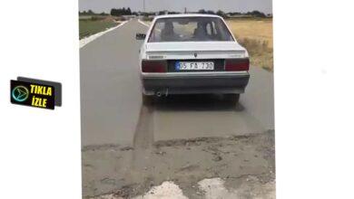 Photo of Urfa'da yeni yapılan beton yolu arabasıyla bozdu