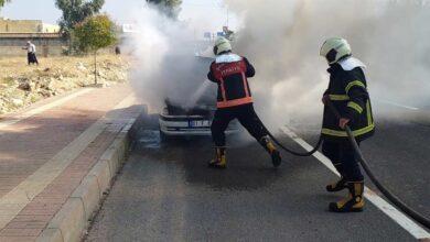 Photo of Şanlıurfa'da seyir halindeki araç alev alev yandı