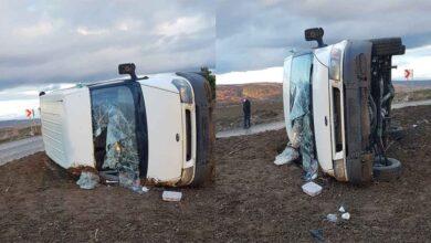 Photo of İşçileri taşıyan minibüs devrildi: 8 yaralı