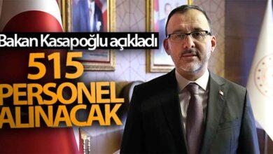 Photo of Bakan Kasapoğlu açıkladı! 515 personel alınacak