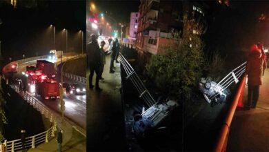 Photo of Kontrolden çıkan otomobil köprüden uçtu: 3 yaralı
