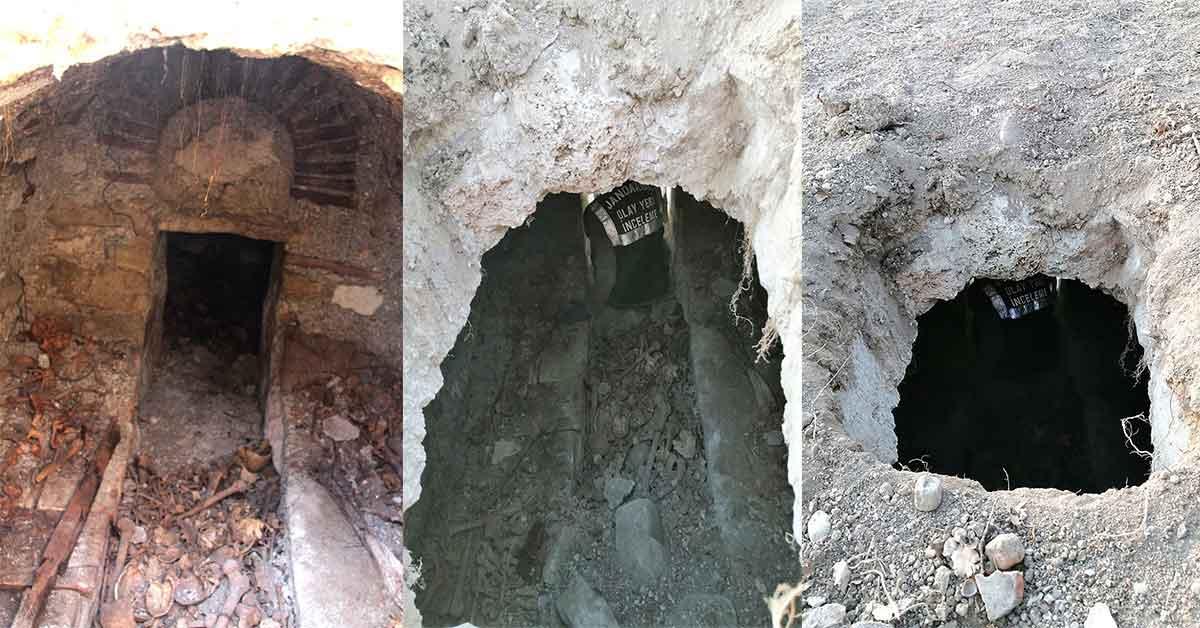 Tarlasını sürerken Roma dönemine ait toplu mezar buldu