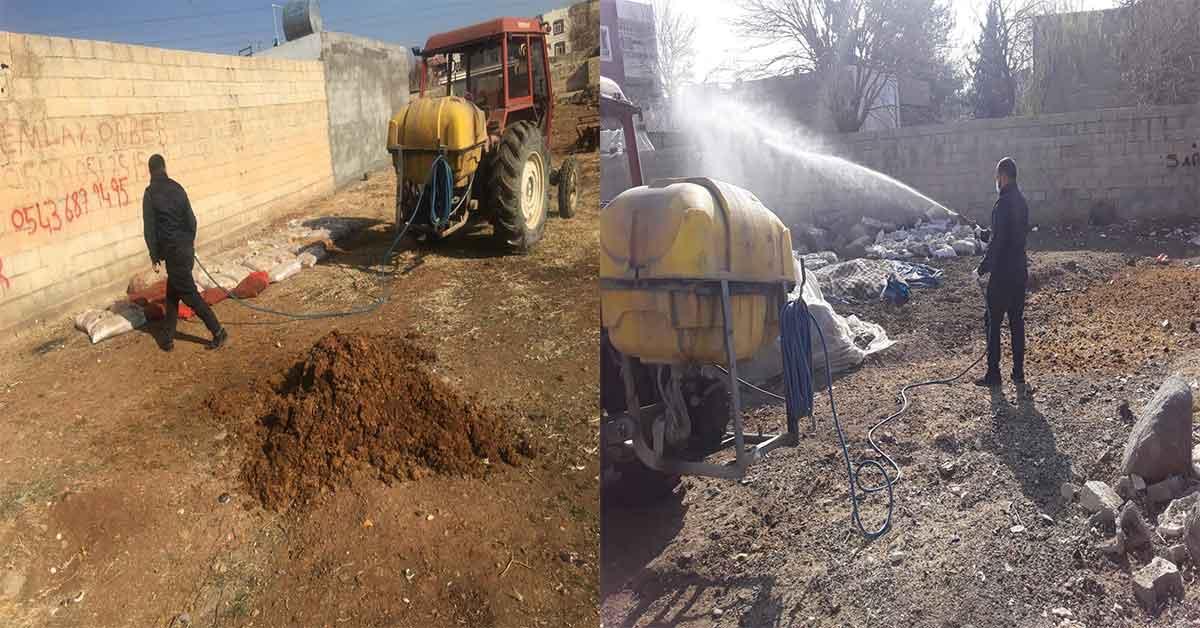 Viranşehir Belediyesi'nden Larva ilaçlama çalışması