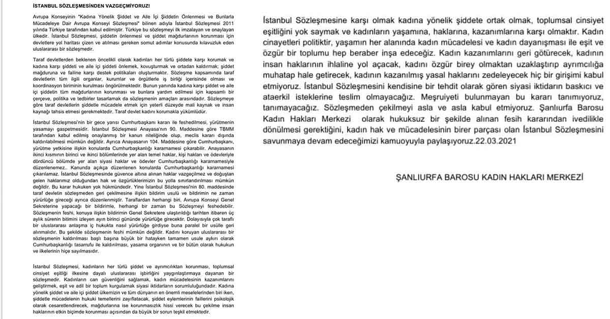 Şanlıurfa Barosu'ndan İstanbul Sözleşmesi Açıklaması