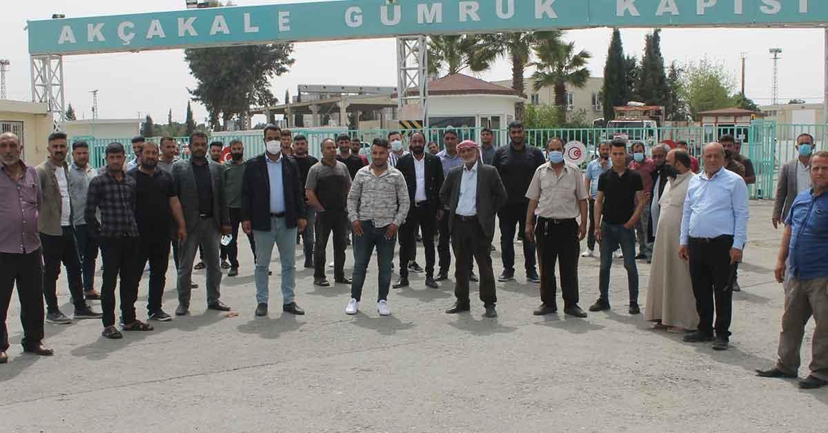 Urfa'da Nakliyecilerden sınır ötesindeki ayakbastı parasına tepki