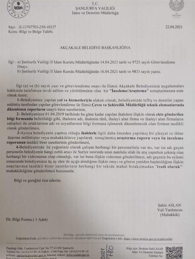 sanliurfa valiligi akcakale belediyesi ne sorusturma acti 874567 1