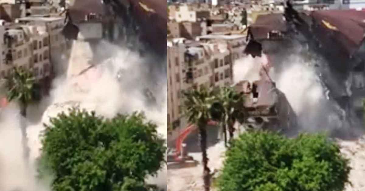 Şanlıurfa'da Binanın yıkılma anı korkuttu